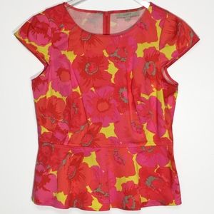 LOFT Womens Small Floral Popover Peplum Top NWOT